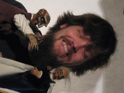 Brian Kiel with two of his puppets